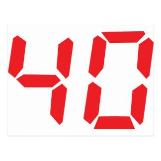 40 thirty-fourty red alarm clock digital number postcard