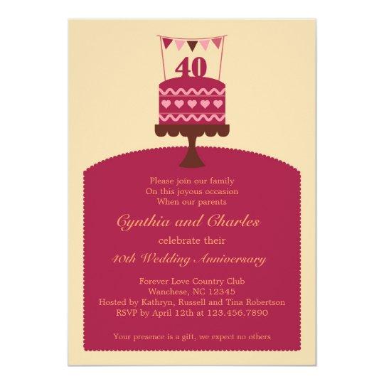 40 Wedding Anniversary Cake Invitation