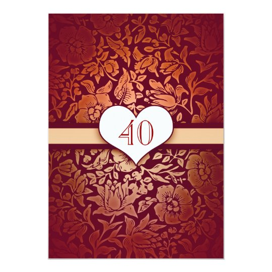 40 wedding anniversary damask red vintage invites