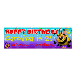 "40""x12"" GiggleBellies BeeWee Birthday Banner Poster"