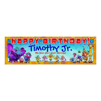 "40""x12"" GiggleBellies Birthday Banner Posters"