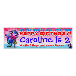 "40""x12 "" GiggleBellies Kissy Moo Birthday Banner Poster"