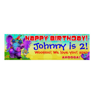 "40""x12"" GiggleBellies Peanut  Birthday Star Banner Poster"