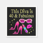 40 YEARS OLD AND A FABULOUS DIVA DISPOSABLE SERVIETTE