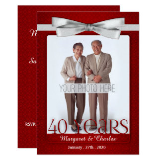 40-Years Wedding Anniversary Ruby Red and White 13 Cm X 18 Cm Invitation Card