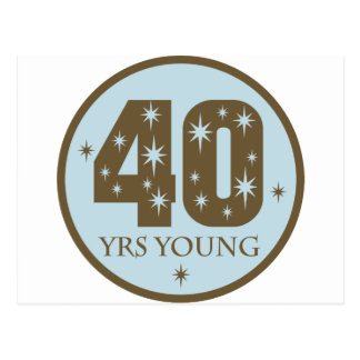 40 Years Young 40th Birthday blue Postcard