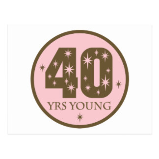 40 Years Young 40th Birthday Gift Postcard