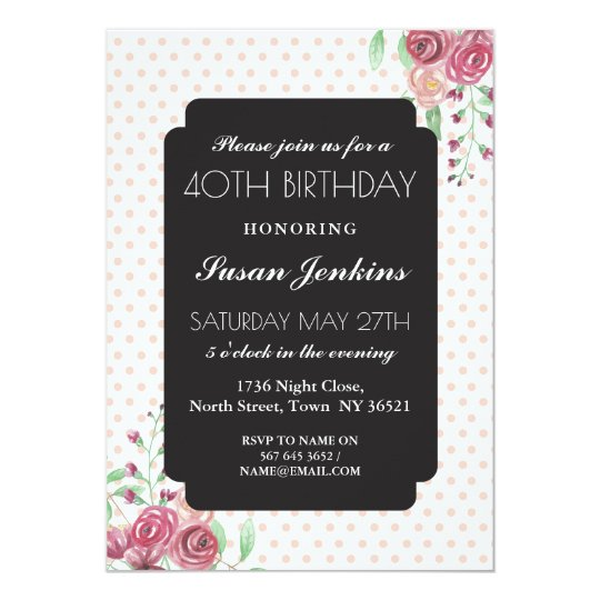 40th 30th 60th Birthday Polka Dots Floral Invite