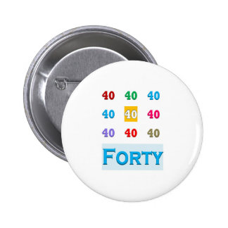 40th 40 Fortieth Anniversary Birthday ELEGANT gift 6 Cm Round Badge