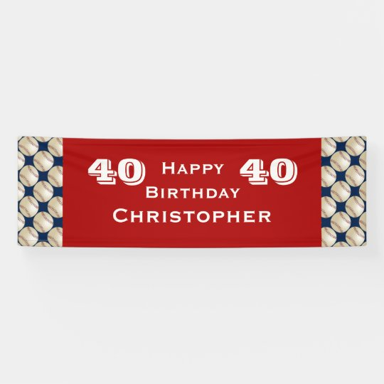 40th, 45th Birthday Party Baseball Banner