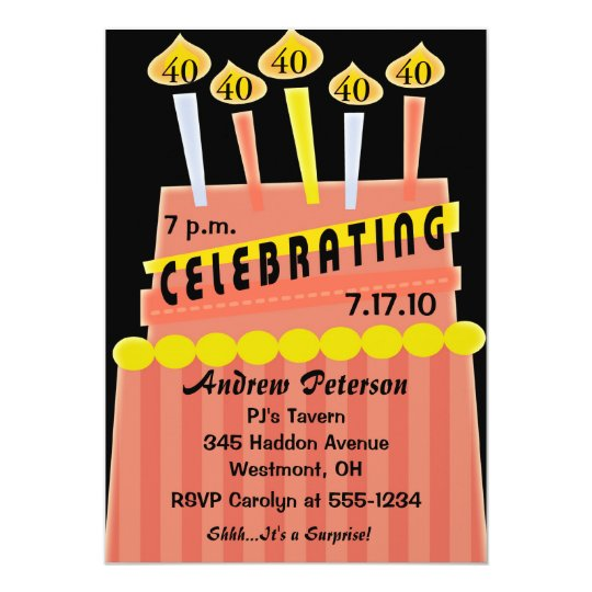 40th - 49th Birthday Party Personalised Invitation