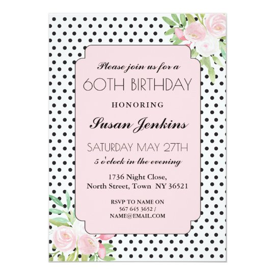 40th 50th 60th Birthday Polka Dots Floral Invite