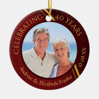 40th Anniversary, 2-Sided, 2-Photo, Ruby & Gold Christmas Ornament