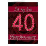 40th anniversary card with roses and leaves