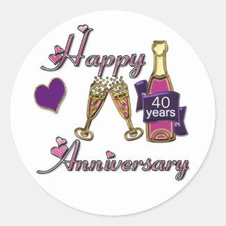 40th. Anniversary Classic Round Sticker