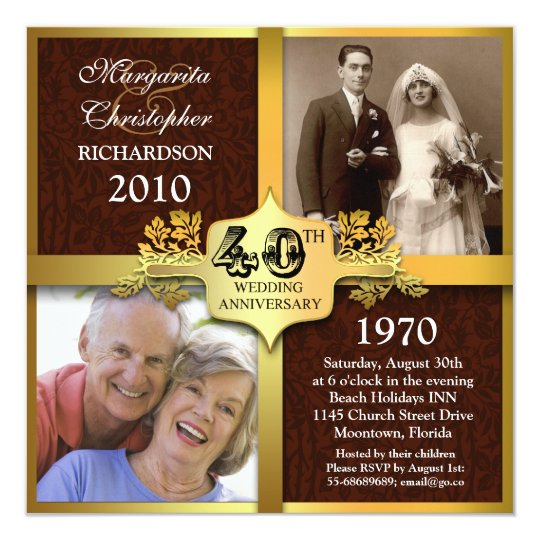 40th anniversary elegant photo invitations
