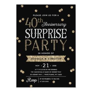 40th Anniversary Glitter Confetti Surprise Party 13 Cm X 18 Cm Invitation Card