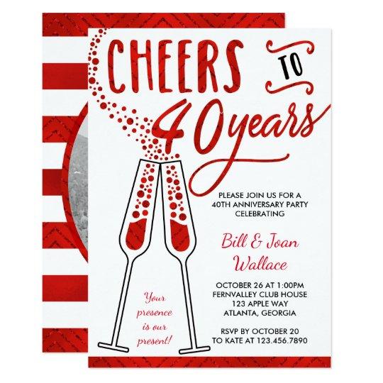 40th Anniversary Invitation, Faux Glitter/Foil Card