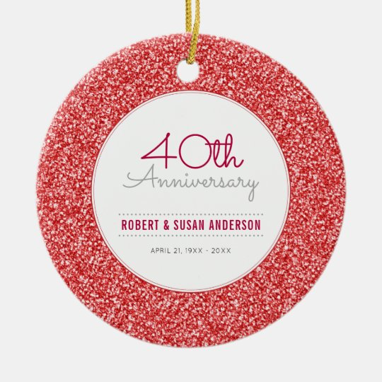 40th Anniversary Keepsake Faux Red Glitter Christmas Ornament