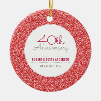 40th Anniversary Keepsake Faux Red Glitter Round Ceramic Decoration
