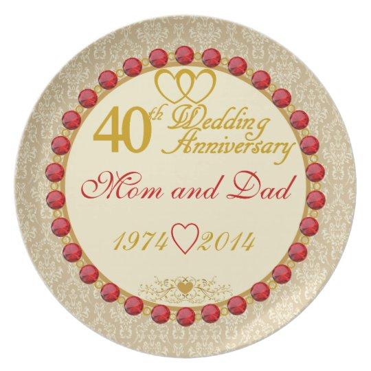 40th Anniversary Mum & Dad Display Plate