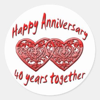 40th. Anniversary Round Sticker