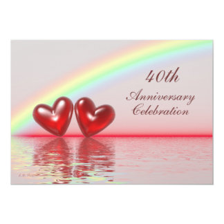40th Anniversary Ruby Hearts 13 Cm X 18 Cm Invitation Card