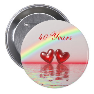 40th Anniversary Ruby Hearts 7.5 Cm Round Badge