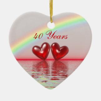 40th Anniversary Ruby Hearts Christmas Ornament