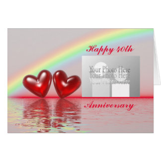 40th Anniversary Ruby Hearts (for photo) Greeting Card