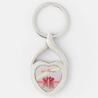 40th Anniversary Ruby Hearts Key Ring
