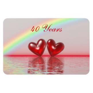 40th Anniversary Ruby Hearts Magnet