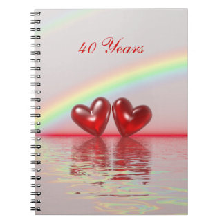 40th Anniversary Ruby Hearts Notebooks