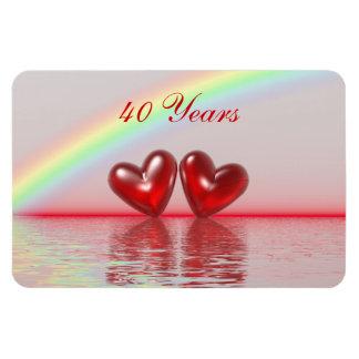 40th Anniversary Ruby Hearts Rectangular Photo Magnet