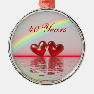 40th Anniversary Ruby Hearts Silver-Colored Round Decoration