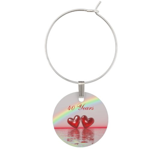 40th Anniversary Ruby Hearts Wine Charms