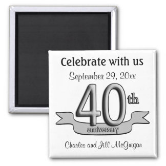 40th Anniversary Save The Date Party Favors Square Magnet