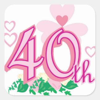 40th anniversary square sticker