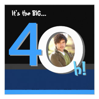 40th Big 4Oh Photo Template Birthday Party Personalized Invites