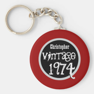 40th Birthday 1974 Vintage or Any Year RED V02 Key Ring