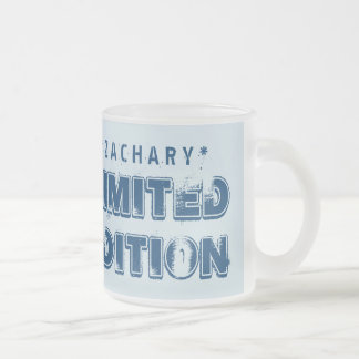 40th Birthday 1975 Limited Edition Custom E01 BLUE Frosted Glass Mug