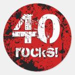 40th Birthday 40 Rocks! Grunge Red and Black A01B Round Sticker