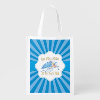 40th Birthday Angel With An Attitude Reusable Grocery Bag