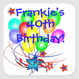 40th Birthday Any Age & Name Fun Birthday Stickers