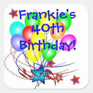 40th Birthday Any Age Name Fun Birthday Stickers