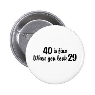 40th Birthday 6 Cm Round Badge