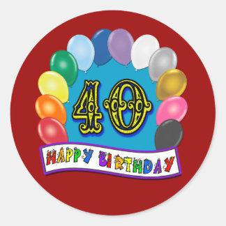 40th Birthday Balloons Design Round Sticker