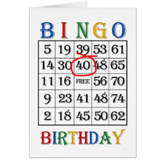 40th Birthday Bingo card