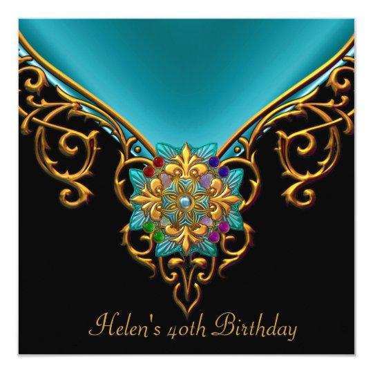 40th Birthday Black Teal Blue gold jewel Card