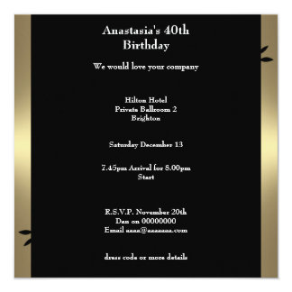 40th Birthday Bronze Coffee Black Floral Swirl 13 Cm X 13 Cm Square Invitation Card
